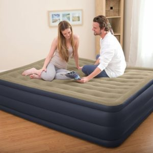 Intex Queen Raised Plush Air Bed Mattress with Built in Electric Pump 67710