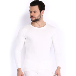 Oswal Solid White Thermal Top for Men