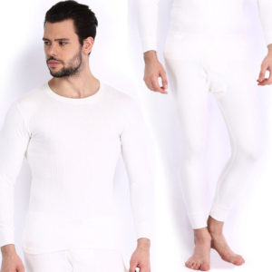Oswal Solid White Thermal Set of Top & Lower for Men Free Socks