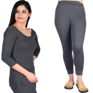 Oswal Solid Grey Thermal Set of Top & Lower for Women