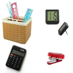 Bluto Combo Of Pen Stand;Calculator;Table Watch & stapler