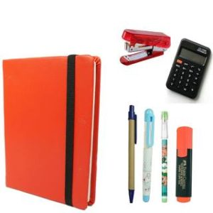 Bluto Combo of Red Leather Diary With Pen;Pencil;Fountain Pen;Highlighter;Calculator Free Stapler