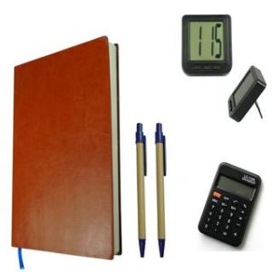 Bluto Combo of Leather Brown Diary With 2 pen & Table Watch;Calculator Combo