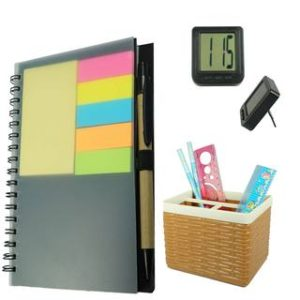 Bluto Diary With Sticky Notes Pen/ Pencil Stand & Table Watch combo