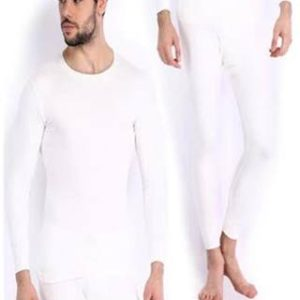 Oswal Mens White Combo Of Top And Lower Free Socks (Size-90)