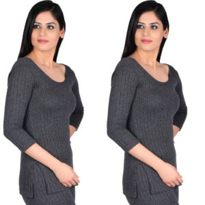 Oswal Solid Grey Thermal Set of 2 Top for Women Free Ankle Socks